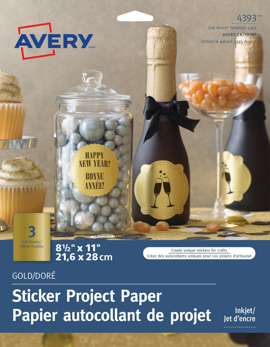 Avery Sticker Project Paper for Inkjet Printers, 8.5 x 11 Full Sheet, Clear, 7 Sheets (4397) Avery Products CA