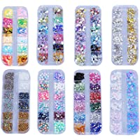 EXCEART 8 Boxes of Nail Art Tools Decoration Manicure Kit Nail Art Charms Punk Rivet Gems Nail Art ewels Decal for Girls…