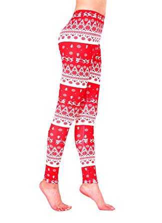 5c0f84d9681ee7 AMORETU Womens Stretch Multicoloured Printed Xmas Snowflake Leggings Pants:  Amazon.co.uk: Clothing