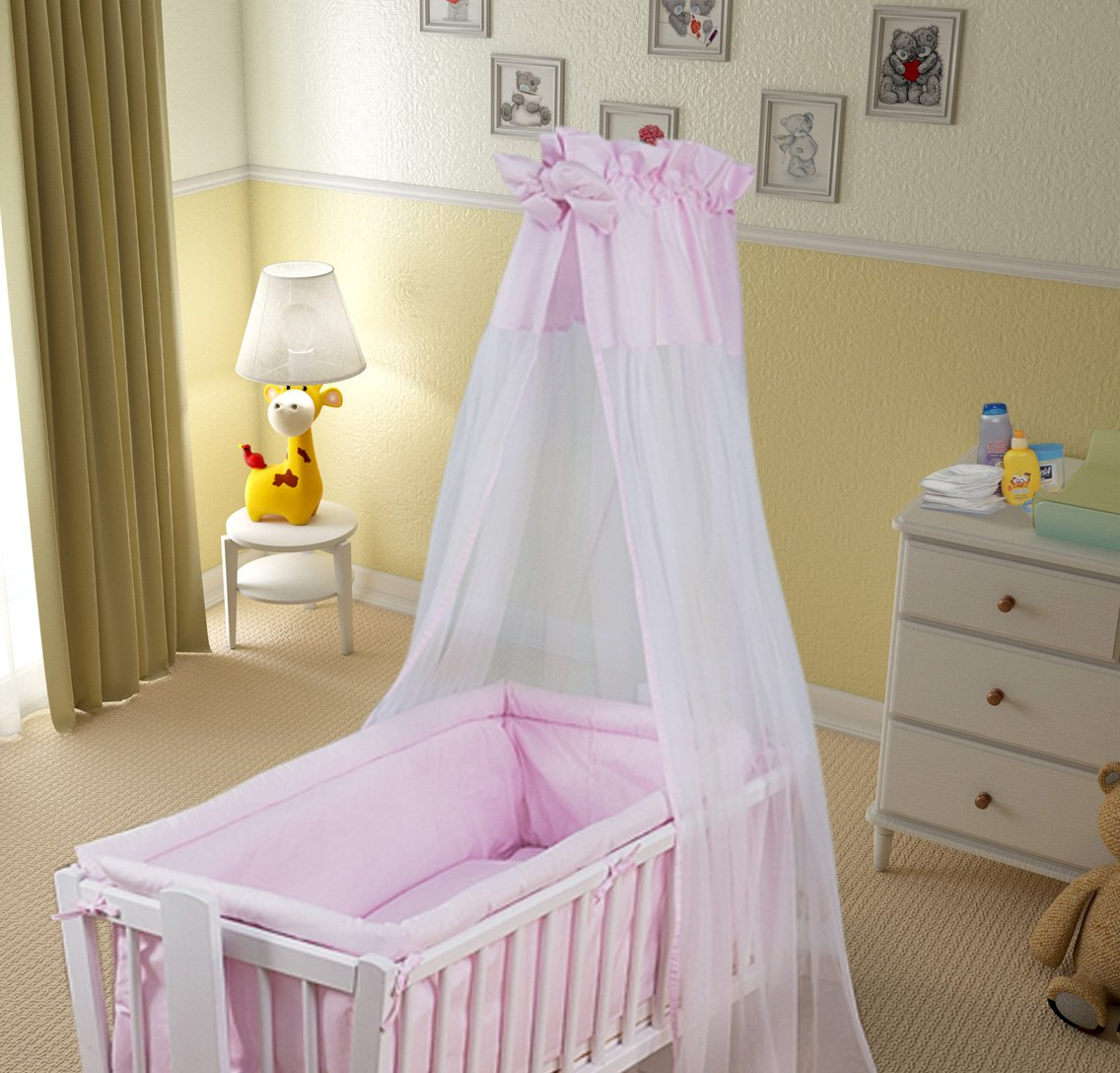 Plain Pink 3 Piece Baby Bedding Set with Thick Bumper to fit 140x70cm Cot Bed