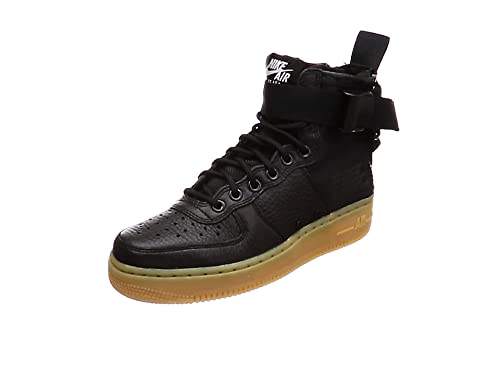 best sneakers 21d2b 0fd2d Nike Damen SF Air Force 1 Mid Schwarz Leder/Synthetik Sneaker 36.5