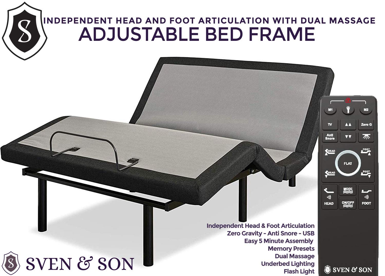 King Adjustable Bed Frame Base, 5 Minute Assembly, USB Ports, Zero Gravity, Anti Snoring Interactive Dual Massage, Wireless, Classic by Sven & Son (King) by Sven & Son