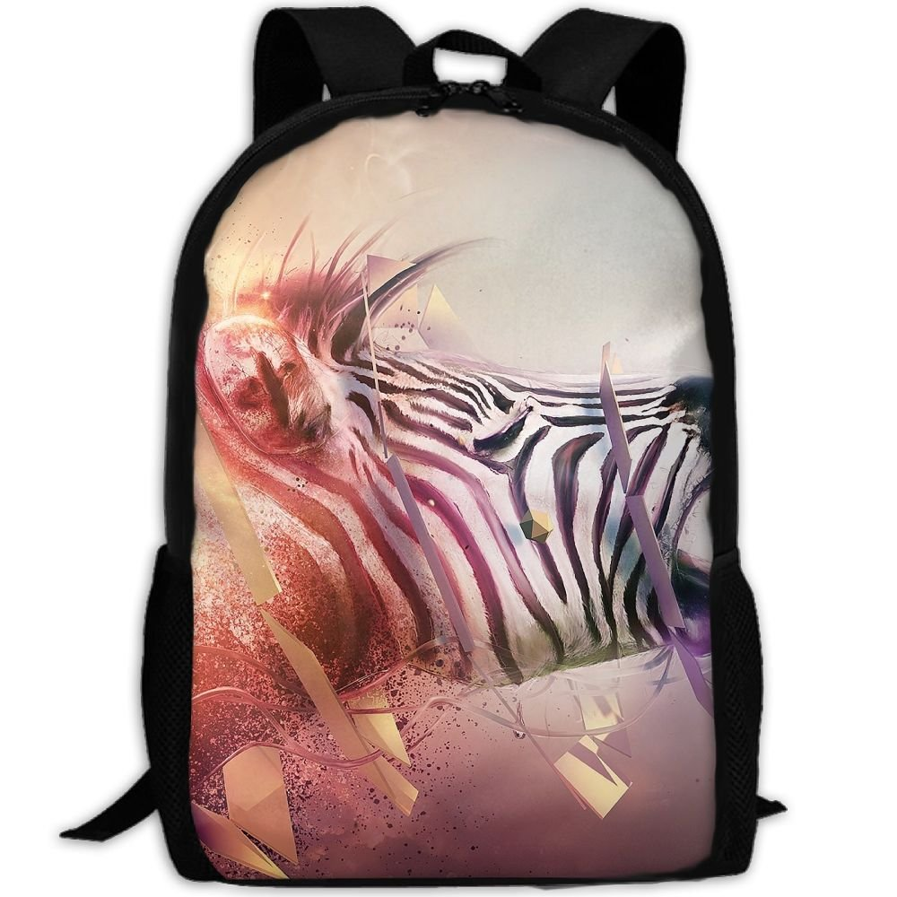 Markui Adult Travel Hiking Laptop Backpack Zebra Head Band Fantasy Pattern School Multipurpose Durable Daypacks Zipper Bags Fashion
