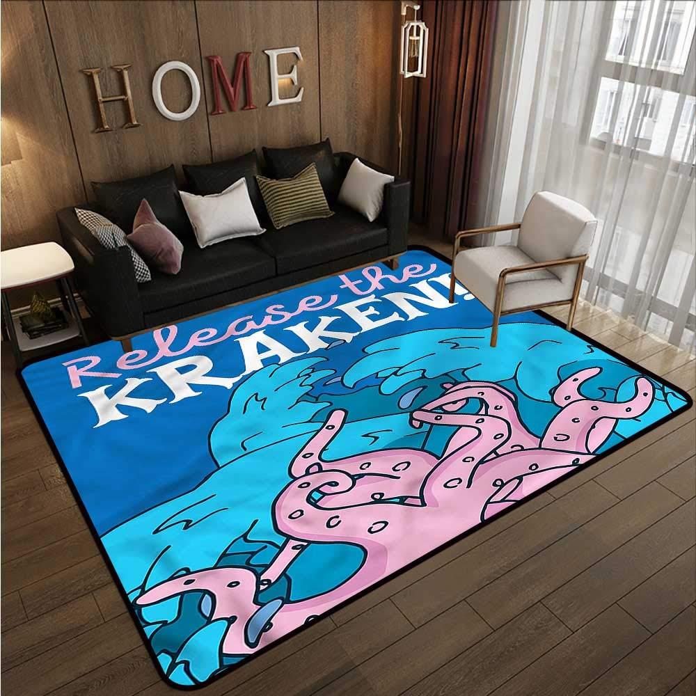 """Kraken,Anti-Slip Outdoor Rugs 60\""""X 96\"""" Kraken Motivation Quote Outdoor Carpet"""