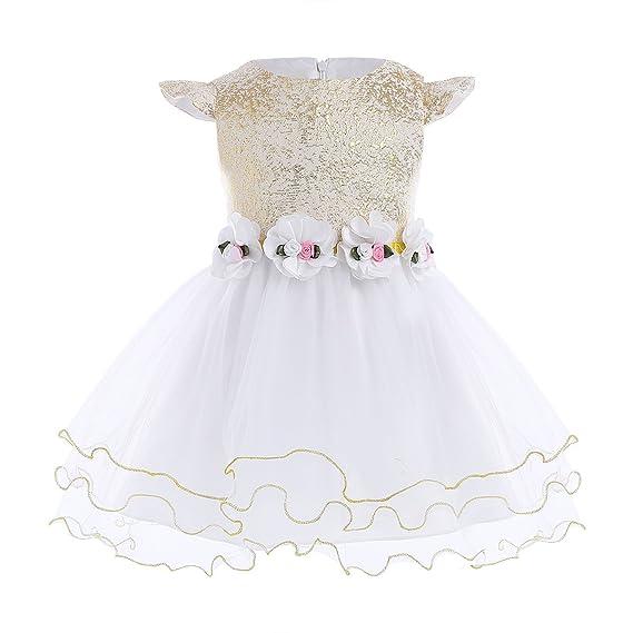 ed1419d7c FEESHOW Vestido de Bebé niña Blanco Vestido de fiesta Princesa Vestidos  flores de Bautizo Boda Cumpleaños SZ 3-24Meses Blanco Y Dorado 9 meses   Amazon.es  ...