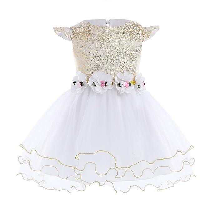Freebily Vestido Blanco de Boda Bautizo Fiesta para Bebé Niña (3-24 Meses)