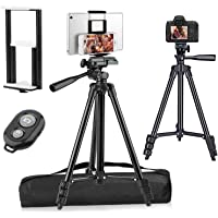 "PEYOU Compatible for iPad iPhone Tripod, 50"" Lightweight Aluminum Phone Camera Tablet Tripod + Wireless Remote…"