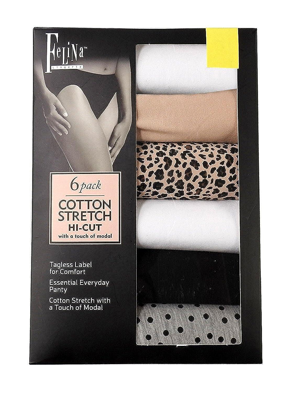 Felina Cotton Stretch Hi Cut Bikini 6-Pack