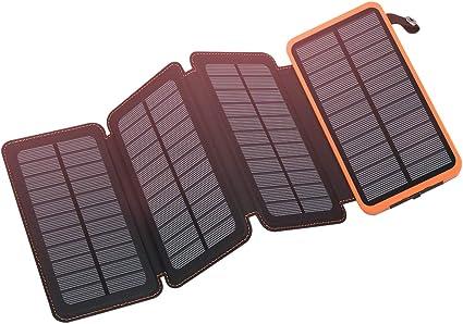 Amazon.com: FEELLE - Cargador solar con 4 paneles solares ...