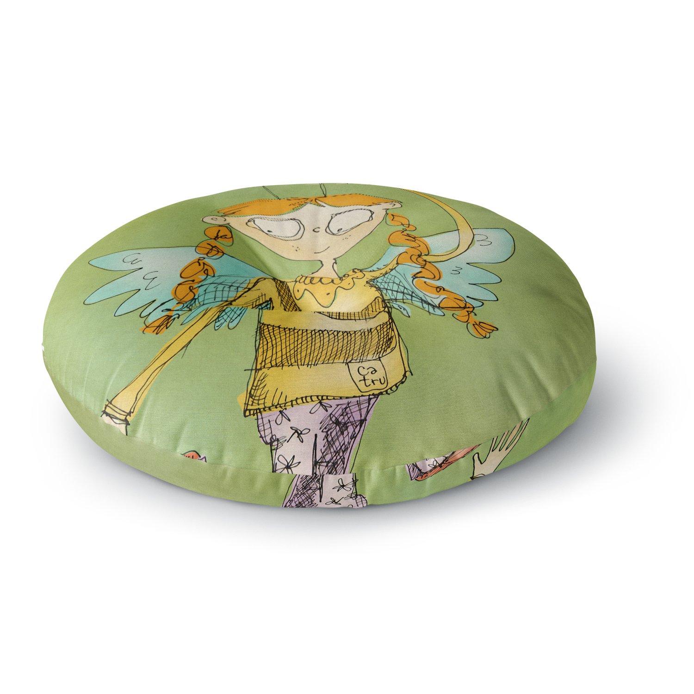 KESS InHouse Carina Povarchik Urban Fairy Girl Green Kids Round Floor Pillow, 26''
