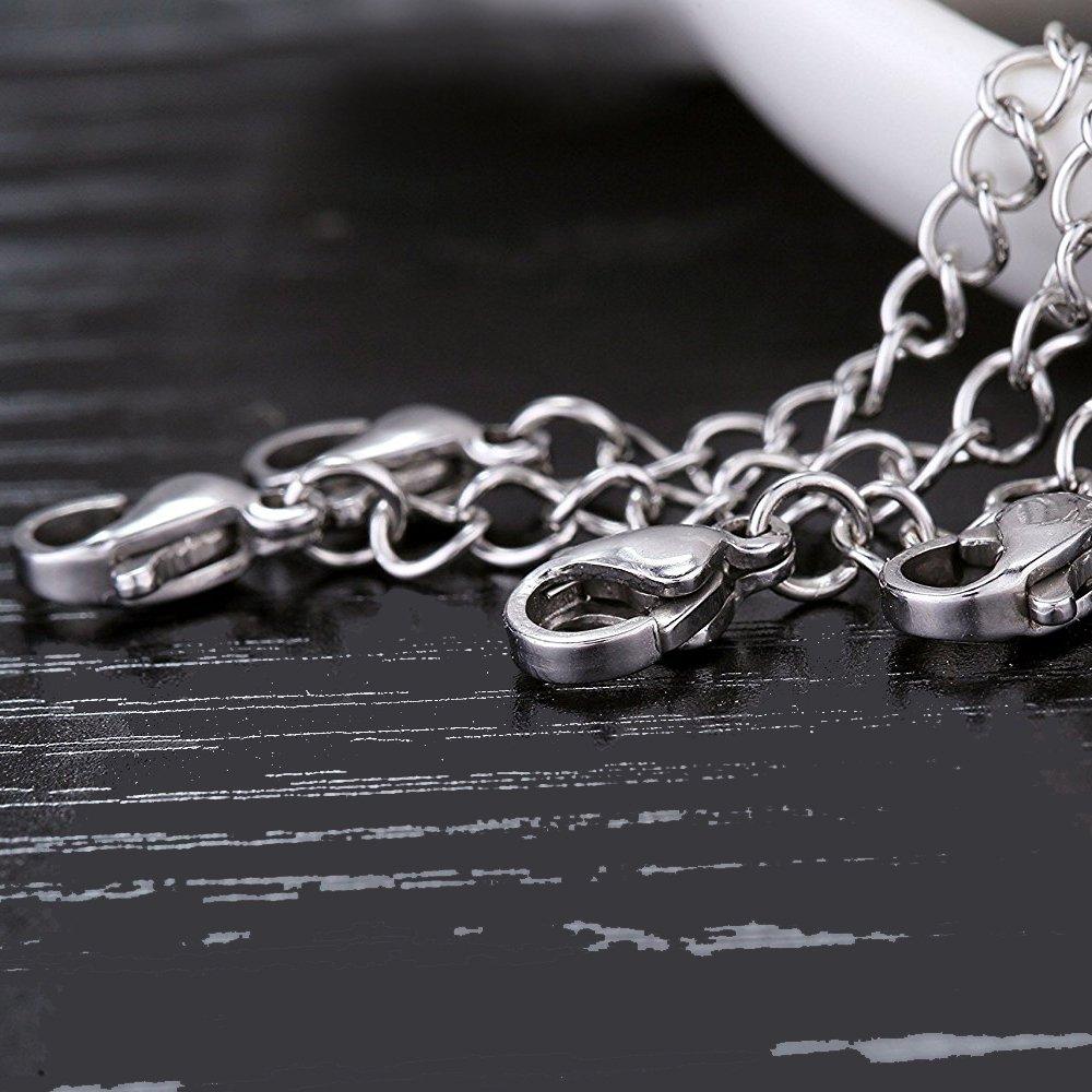 Contever 8 pi/èces Collier Bracelet Extension de cha/îne 2-6 Pouces en Acier Inoxydable