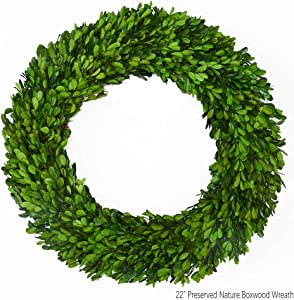 Boxwood Wreath X-Larger 22 inch Preserved Nature Boxwood Wreath Home Decor Stay Fresh for Years for Door Wall Window Party Décor Spring Summer Fresh Green Wreath
