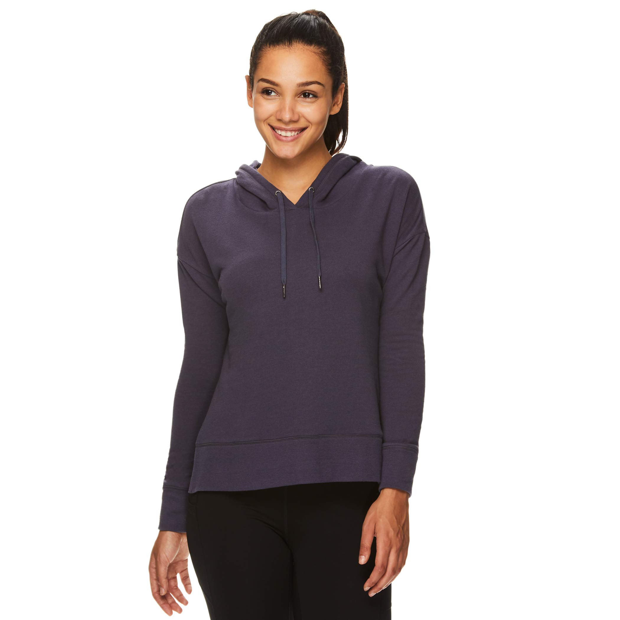 Gaiam Women's Pullover Hoodie Yoga Sweatshirt with Side Slits - Lightweight Cropped Athleisure Sweater - Harlow Graphite, X-Large by Gaiam