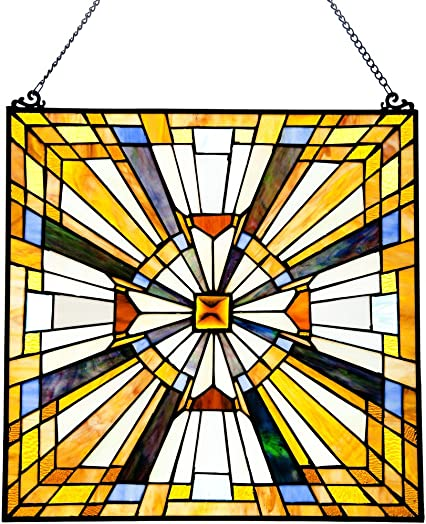 Yogoart 20 Inch Tiffany Stained Glass Window Panels 12 Inch Tall Stained Glass Rays of Sunshine Window Panel 20 X 12 Inches Multicolored