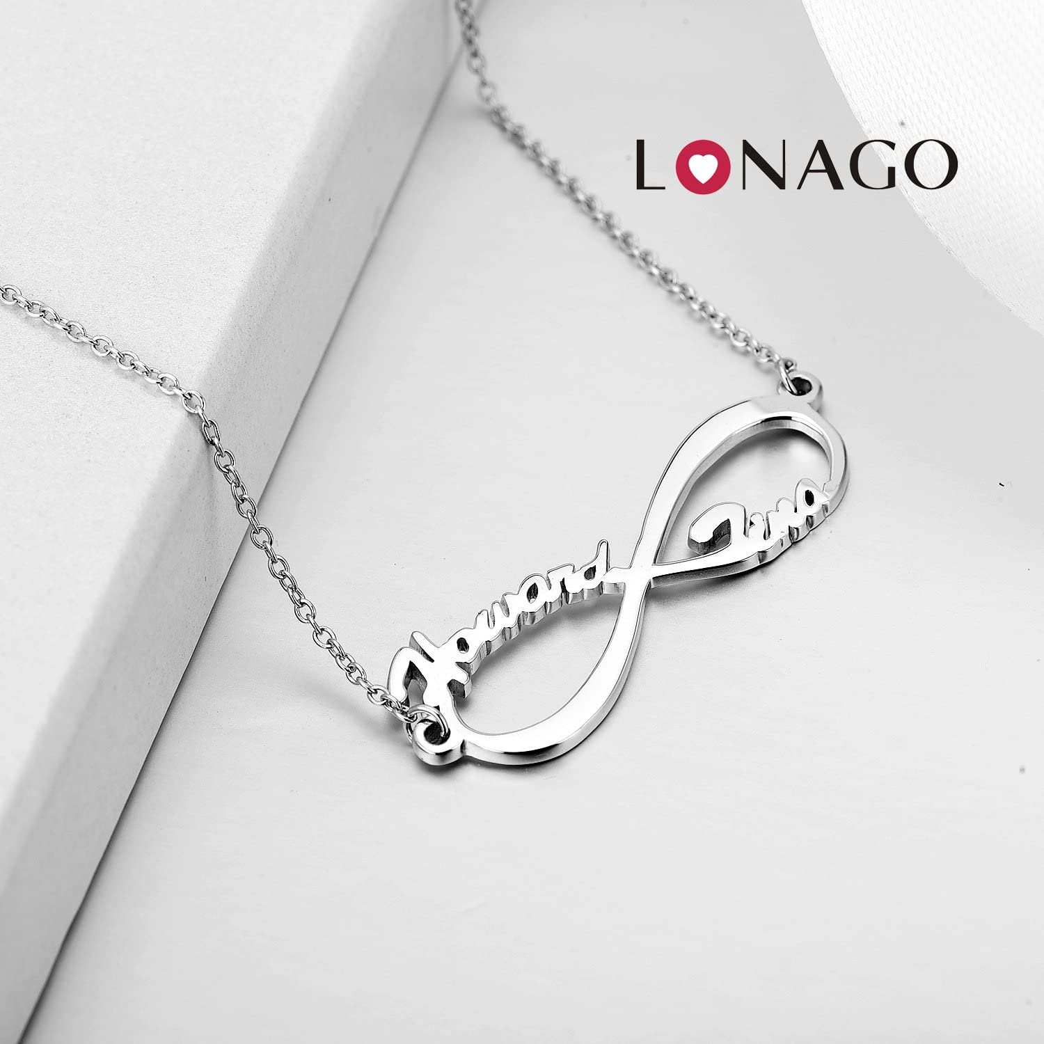 Infinity Name Necklace Personalized Eternal Custom Made Any 2 Name Plates for Women