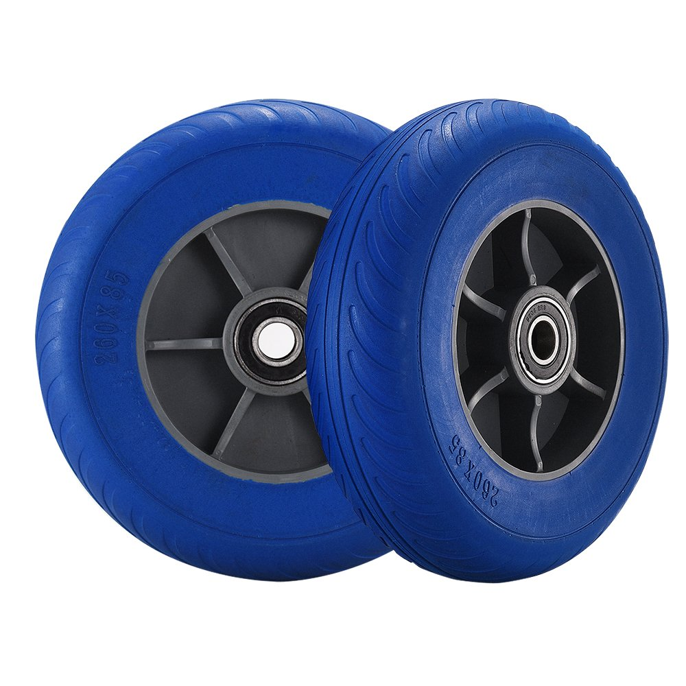 Sanmey Pack of 2 x 10inch Solid Rubber Wheels Puncture Burst Proof for Sack Truck Trolley Wheelbarrow Garden Cart Blue