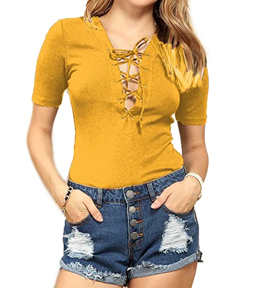 0f4bd9ef714 Ambiance Shopglamla Ribbed Lace up Top Mustard L at Amazon Women s Clothing  store
