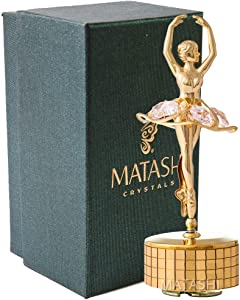 Matashi 24k Gold Plated Ballet Dancer Wind-Up Music Box with Pink Crystals, Home Bedroom Decor Tabletop Ornaments Gift for Musician Wife Mother's Day Christmas Valentine's Day Birthday(Swan Lake)