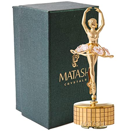 Matashi 24k Gold Plated Ballet Dancer Wind-Up Music Box Swan Lake Table Top Ornament w Pink Crystals 24k Gold Plated Home or Bedroom D cor Girls, Women, Ladies