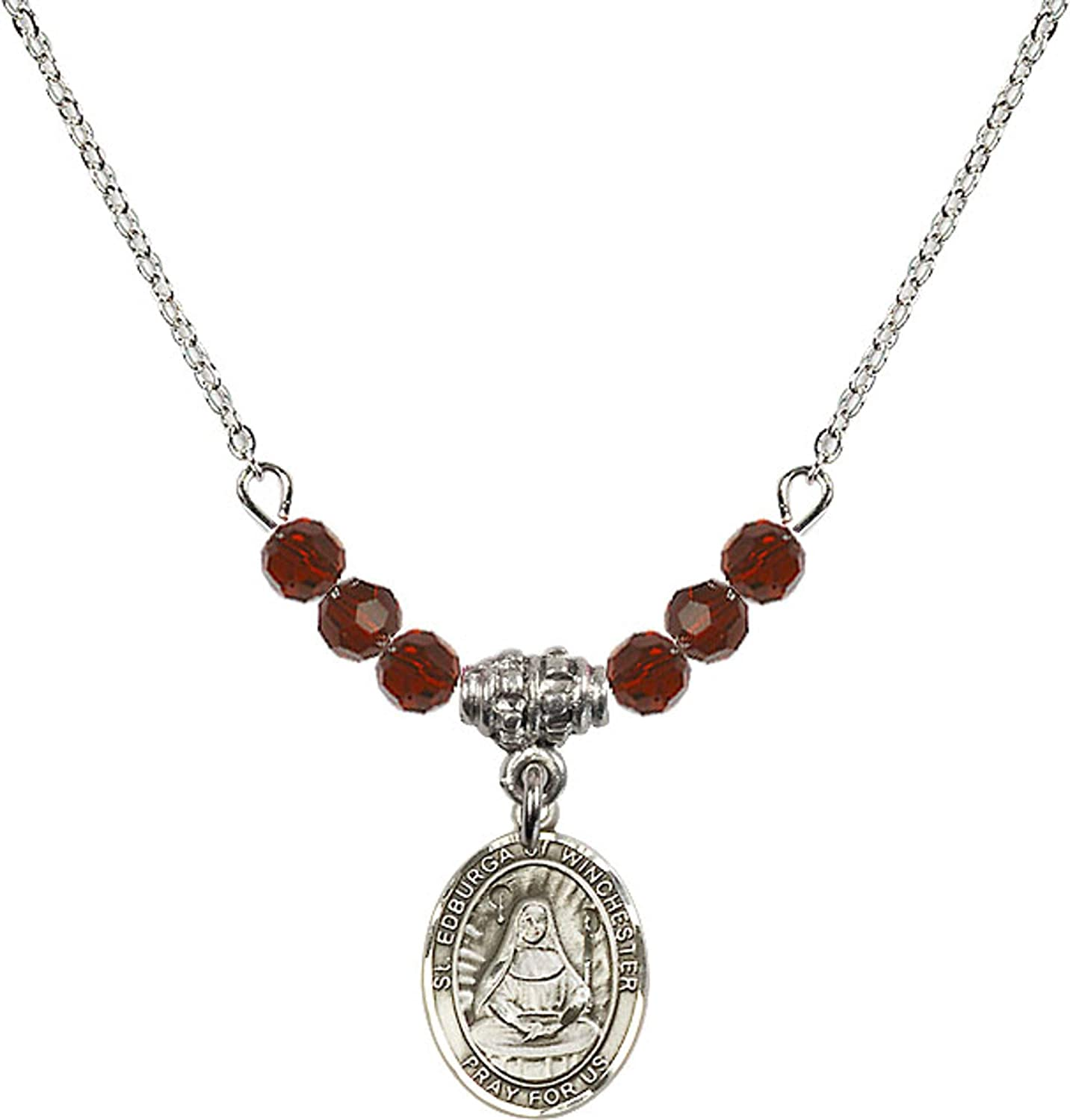 Bonyak Jewelry 18 Inch Rhodium Plated Necklace w// 4mm Red January Birth Month Stone Beads and Saint Edburga of Winchester Charm