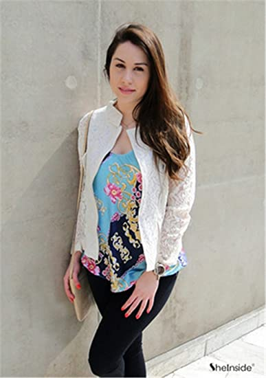 Sheinside® Damen kurze Jacke mit Hohl Spitze, beige (Asien L