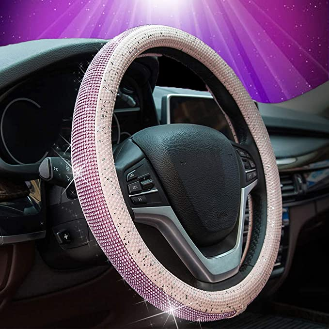 Charmchic Cute Bling Spark Spot Soft Microfiber Leather Steering Wheel Cover for Woman Universal 15 inches Pink