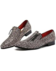 Fashion Oxfords for Men Smoking Loafers Slip on PU Leather Rubber Sole Side Zipper Glitter Sequins Pointed Toe Wear-Resisting` Likeskyo