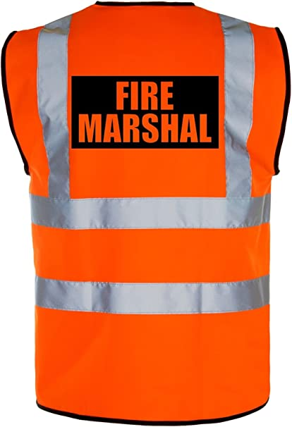 Yellow Printed Fire Marshal Hi-VIS High Visability Safety Vest Waistcoat