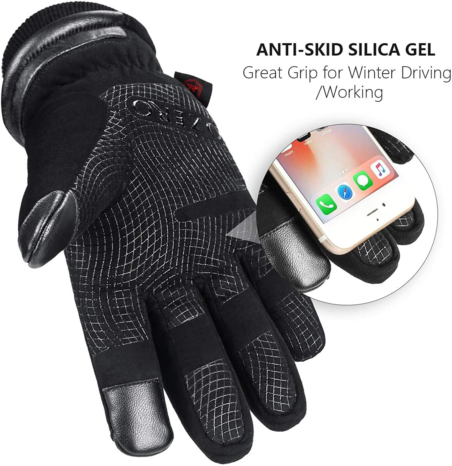 30℉ Waterproof Winter Gloves for Men Touch Screen Thermal in Cold Weather for Motorcycle Cycling Driving OZERO