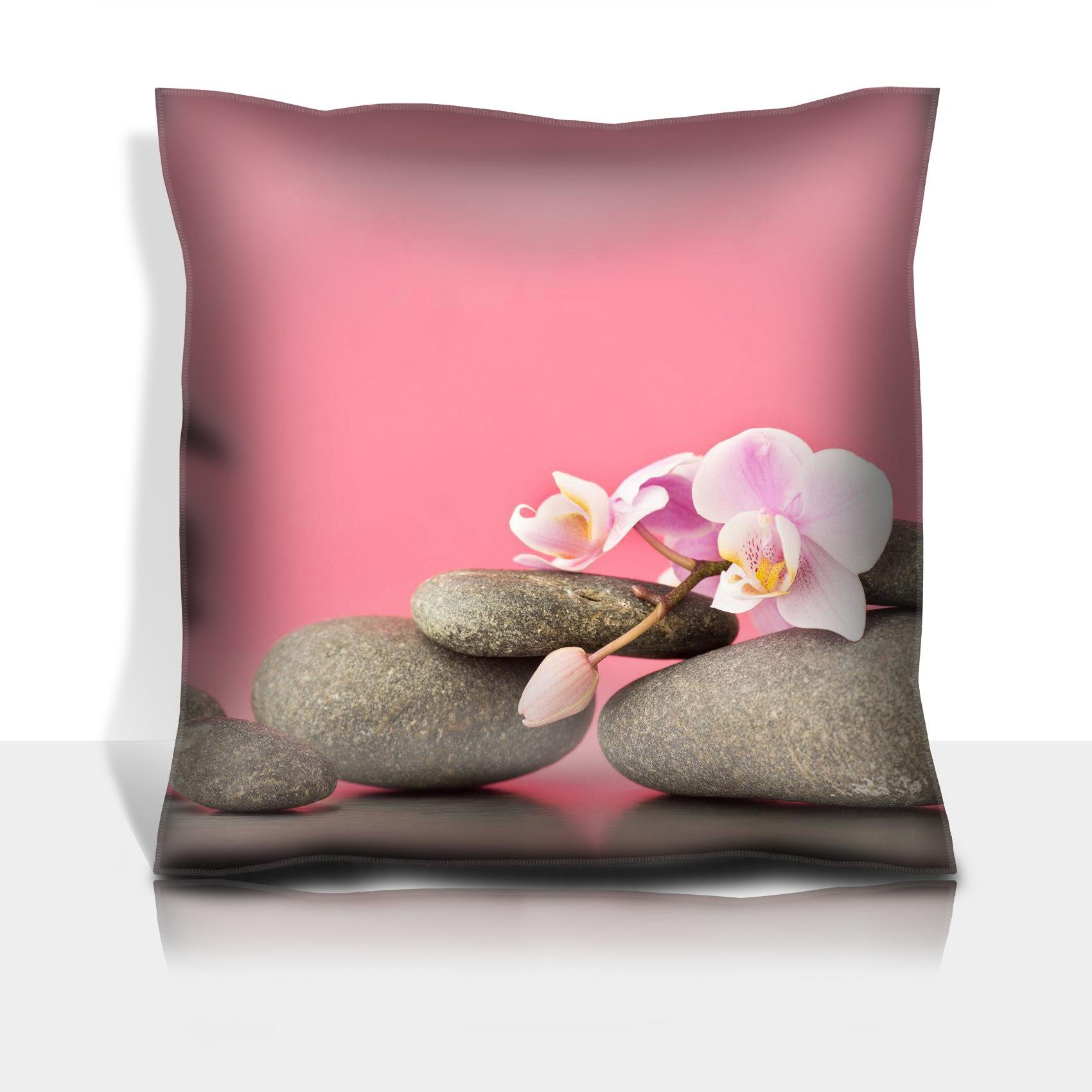 MSD Throw Pillowcase Polyester Satin Comfortable Decorative Soft Pillow Covers Protector sofa 16x16, 1pack IMAGE ID 27140351 Spa stones on pink background with orchids