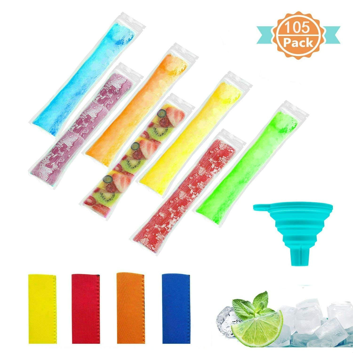 100pcs Ice Popsicle Mold Bags, Disposable 11 x 2 Inch BPA Free Ice Pop Pouchs, with 4 Popsicle Holders and Free Funnel, for Yogurt, Ice Candy, or Freeze Pops Devbor