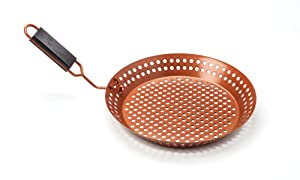 Outset QN77 Grill Skillet with Removable Soft-Grip Handle, Copper Non-Stick