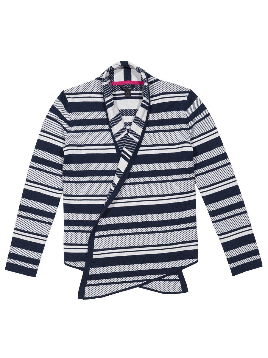 Tommy Hilfiger Girls' Big Jacquard Stripe Sweater, Medium Navy, by Tommy Hilfiger (Image #2)