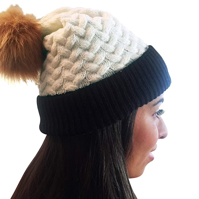 ddb24883d38f8 Image Unavailable. Image not available for. Color  Unisex Knit Fall   Winter  Beanie Hat Faux Fur Pom Pom White Black Brown