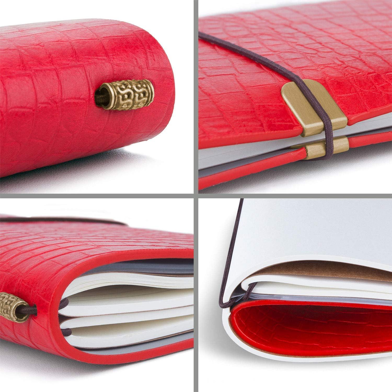 int/égr/ées id/éal pour les amateurs de voyages ou voyageurs daffaires 12 x 20 cm Gris Noir journal notebook de voyage xperg Carnet de notes fait main en cuir avec pochettes multi-usage