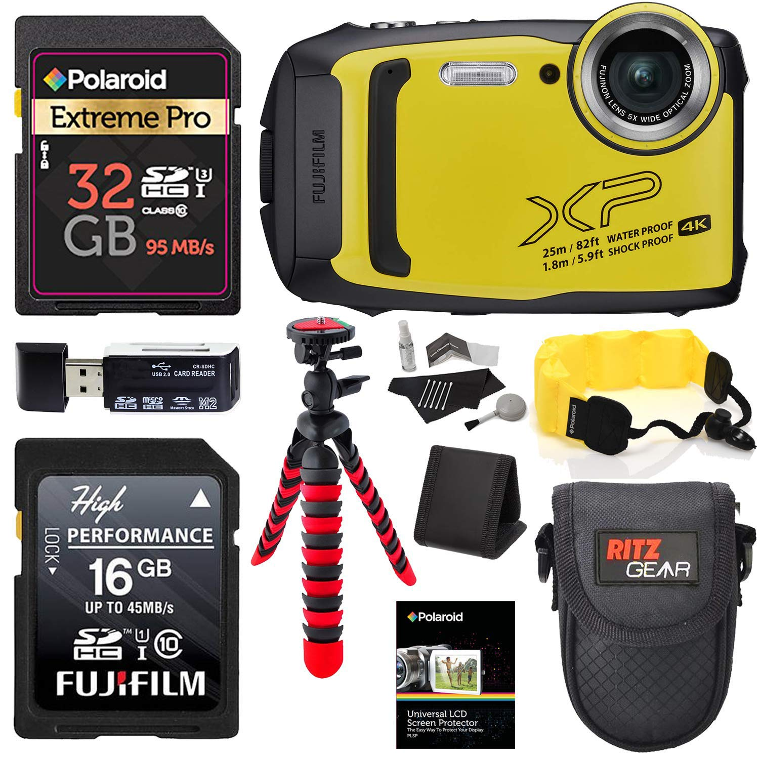 Fujifilm Finepix XP140 (Yellow) Point and Shoot Camera Bundle with Memory Cards, Tripod, Float Strap, Memory Card Reader and More