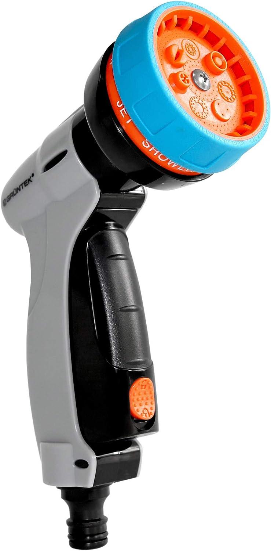 GRÜNTEK Pistola en Plastico para Riego y Manguera de Jardín. Pulverizadora con 7 Spray lígera y Resistente. Se controla de una mano. Water-Stop integrado