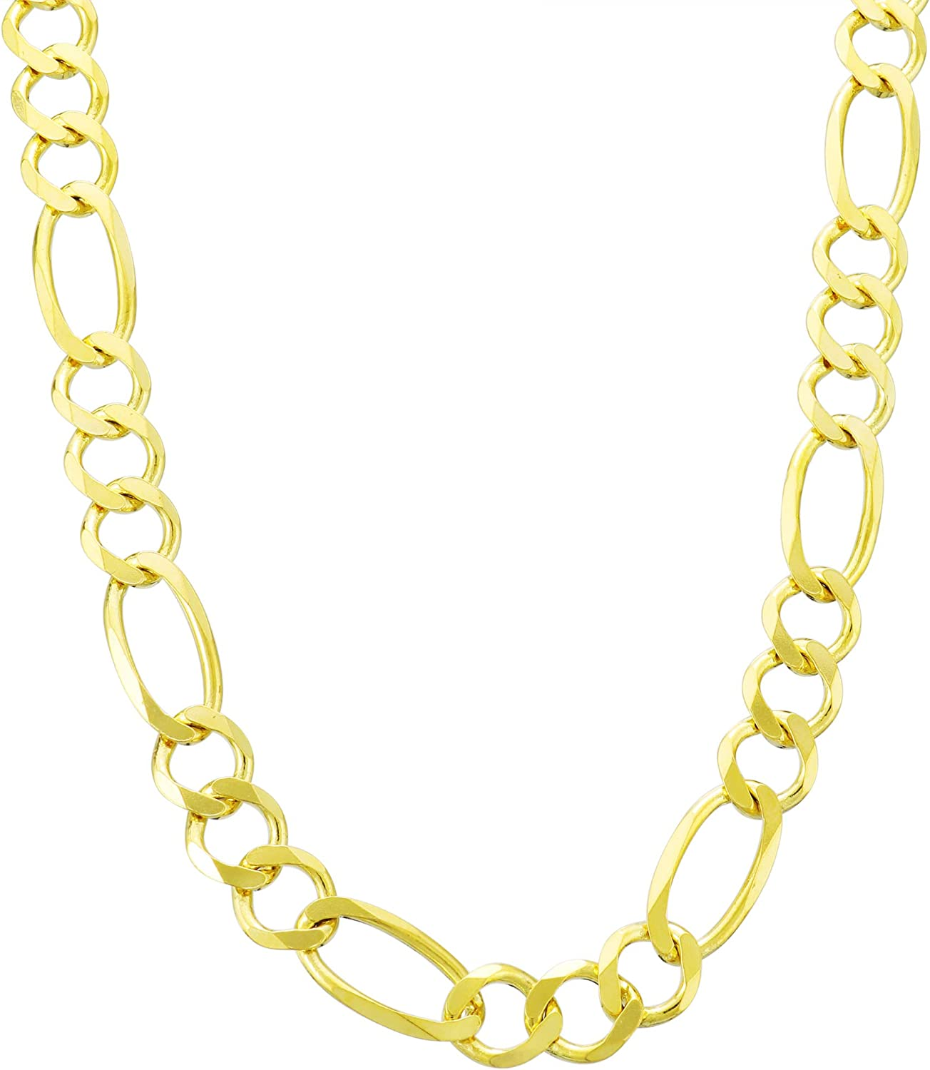 """10K Solid Yellow Gold Figaro Chain Link Pendant Necklace 16/"""" 18/"""" 20/"""" 22/"""" 24/"""" 30/"""""""