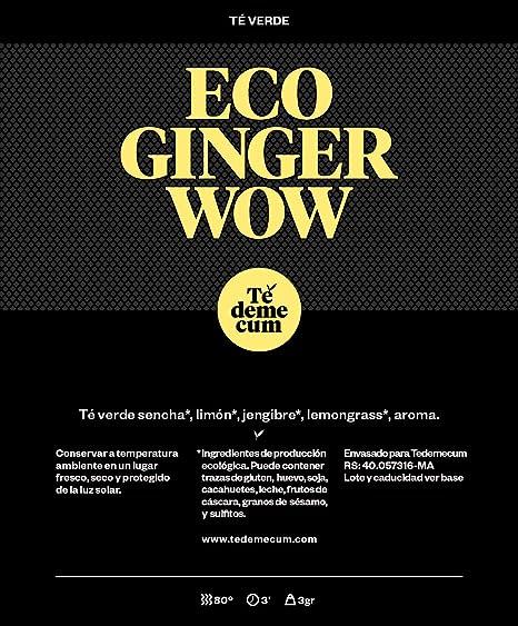 ECO GINGER WOW PREMIUM Gourmet 100gr. Té verde, jengibre, limón.