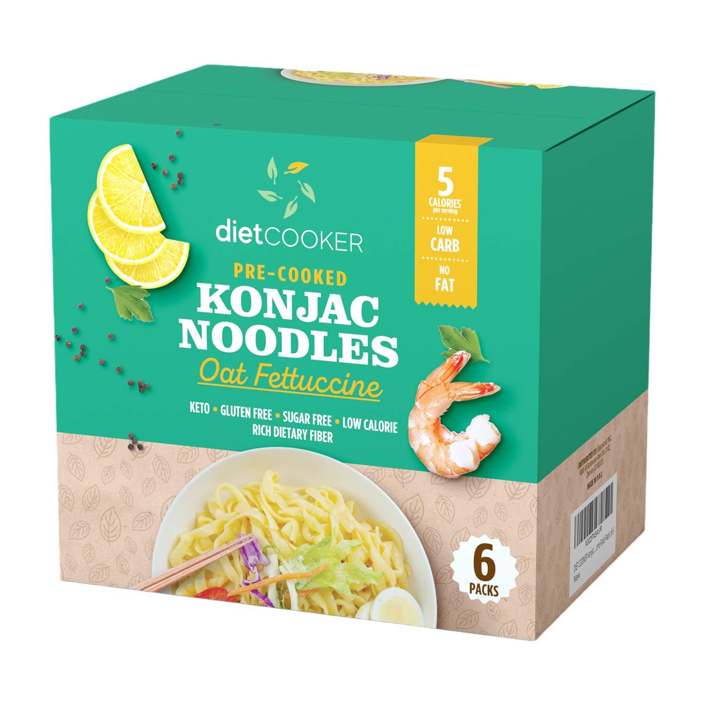 DIET COOKER Premium Konjac Noodles, Shirataki Noodle, Keto & Vegan Friendly, 9.52 oz, Odor Free, Pasta Weight loss, Low Calorie, Zero Net Carbs, Healthy Diet Food - Oat Fettuccine - 6-Pack