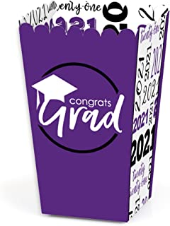 product image for Big Dot of Happiness Purple Grad - Best is Yet to Come - Purple 2021 Graduation Party Favor Popcorn Treat Boxes - Set of 12