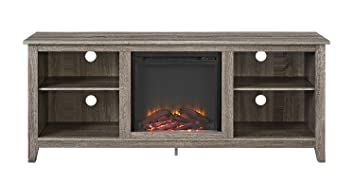 Amazon Com Walker Edison W58fp18ag Fireplace Tv Stand Driftwood