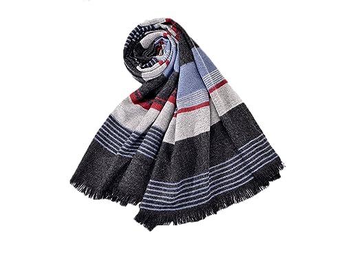 GTKC Donne di Moda Strisce Spesse di Lana Avvolge la Sciarpa Foulard Scialle Color 1