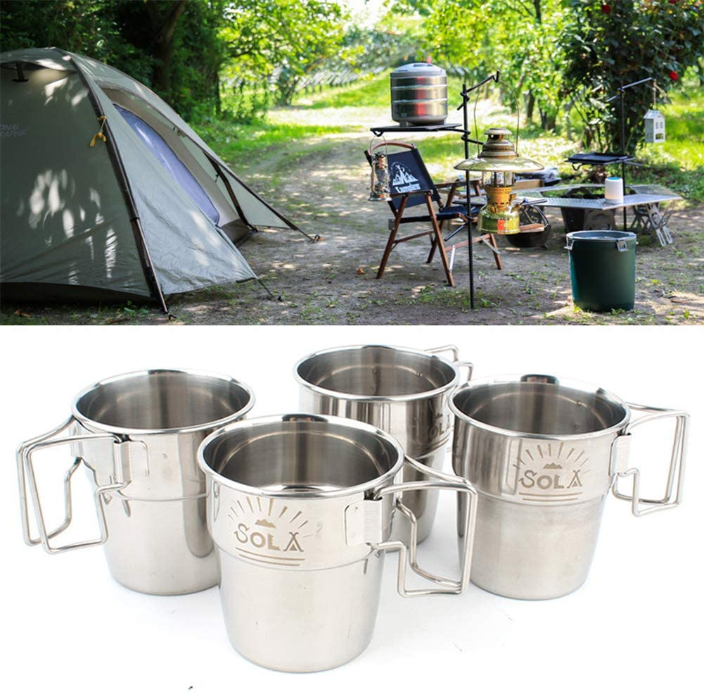 LYXMY 4pcs Camping Cup,Stackable Mug with Foldable Handle Stainless Steel Picnic Water Cup for Hiking Outdoor Drinking Pint Cups