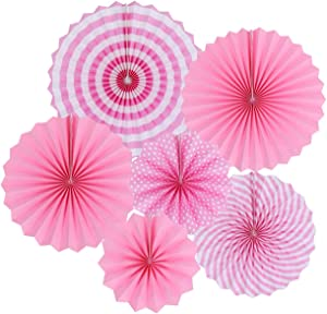 zilue Hanging Pink Paper Fans Decoration Kit Round Paper Garlands for Wedding Birthday Party Baby Showers Events Accessories Set of 6