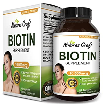 Biotin Supplement with Vitamin B Complex for Stronger Hair and Nails, Supports Healthy Growth and