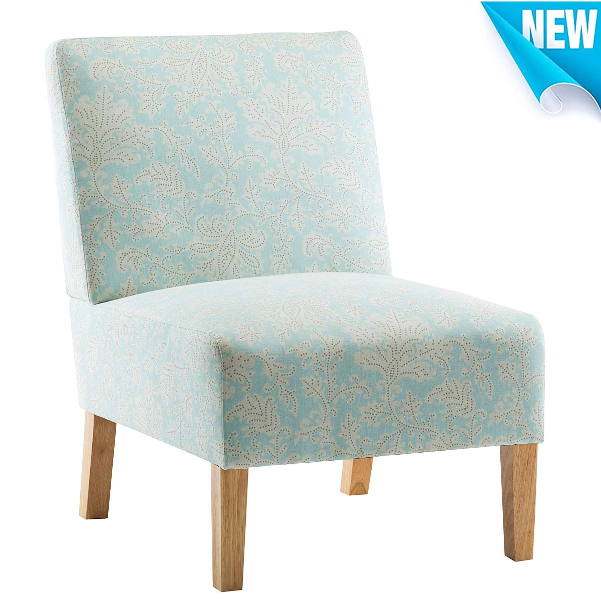 Living Room Armless Accent Chair, Norcia Bedroom Chairs for Adults with Solid Wood Legs Blue Flower Damask