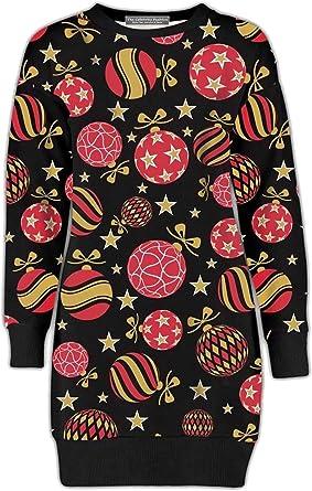 UK Womens Christmas Jumper Dress Santa Snowman Long Sleeves Ladies Mini 6-26