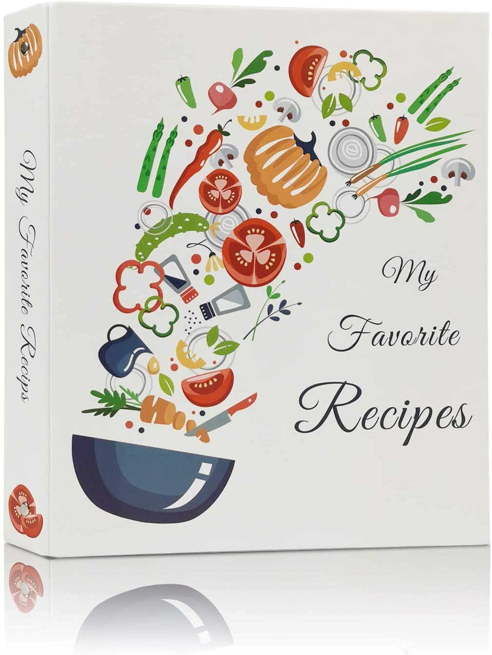 Various Vegetables Family Recipe Organizer 3 Ring Binder with 40 Recipe Cards,40 Plastic Page Protectors Hardcover Recipe Binder