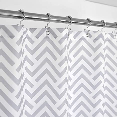 Geometric Patterned Waterproof 100/% Polyester Fabric Shower Curtain for Bathroom 72 x 84 Extra Long GREY